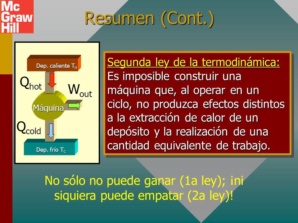 Resumen (Cont.) c = c = c = c = Q n T U = nC v T Capacidad calorífica molar, C: Unidades: Joules por mol por grado Kelvin Lo siguiente es cierto para