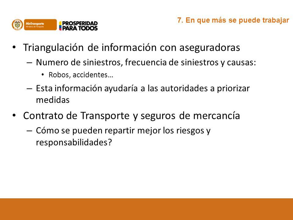 Triangulación de información con aseguradoras – Numero de siniestros, frecuencia de siniestros y causas: Robos, accidentes… – Esta información ayudarí