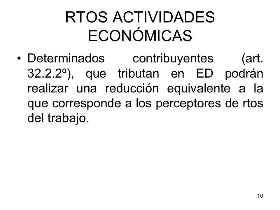 10 RTOS ACTIVIDADES ECONÓMICAS Determinados contribuyentes (art. 32.2.2º), que tributan en ED podrán realizar una reducción equivalente a la que corre