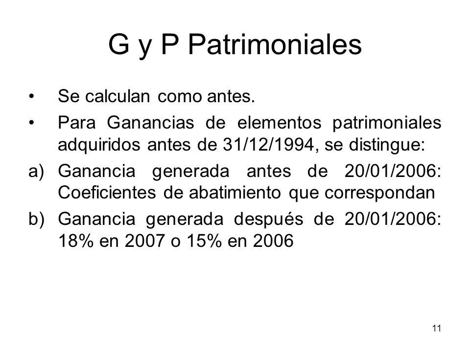 11 G y P Patrimoniales Se calculan como antes. Para Ganancias de elementos patrimoniales adquiridos antes de 31/12/1994, se distingue: a)Ganancia gene