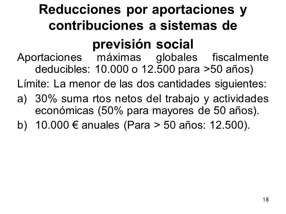 18 Reducciones por aportaciones y contribuciones a sistemas de previsión social Aportaciones máximas globales fiscalmente deducibles: 10.000 o 12.500