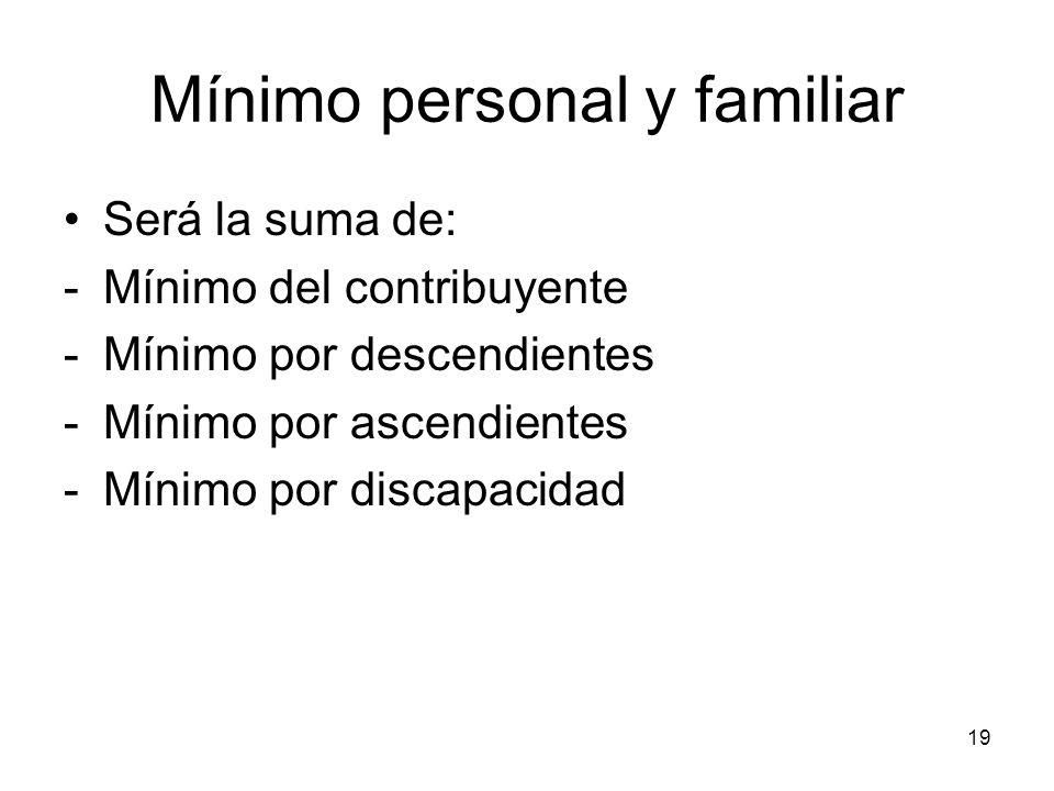 19 Mínimo personal y familiar Será la suma de: -Mínimo del contribuyente -Mínimo por descendientes -Mínimo por ascendientes -Mínimo por discapacidad