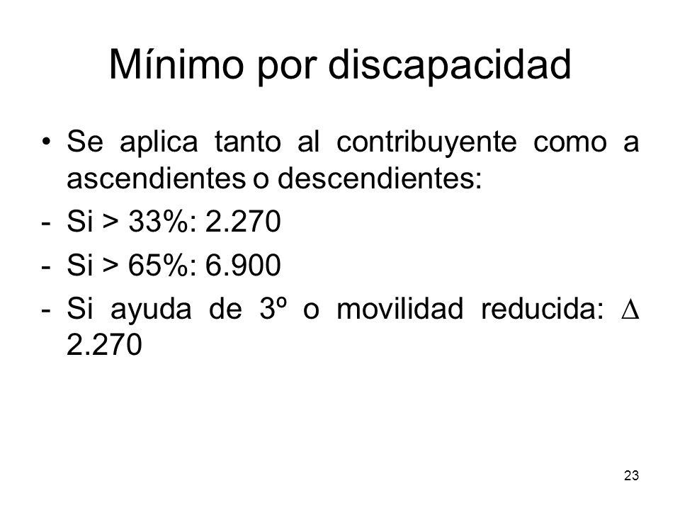 23 Mínimo por discapacidad Se aplica tanto al contribuyente como a ascendientes o descendientes: -Si > 33%: 2.270 -Si > 65%: 6.900 -Si ayuda de 3º o m