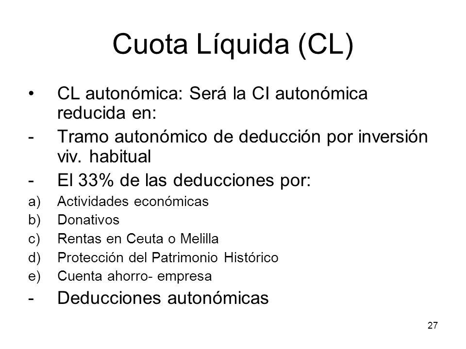 27 Cuota Líquida (CL) CL autonómica: Será la CI autonómica reducida en: -Tramo autonómico de deducción por inversión viv. habitual -El 33% de las dedu