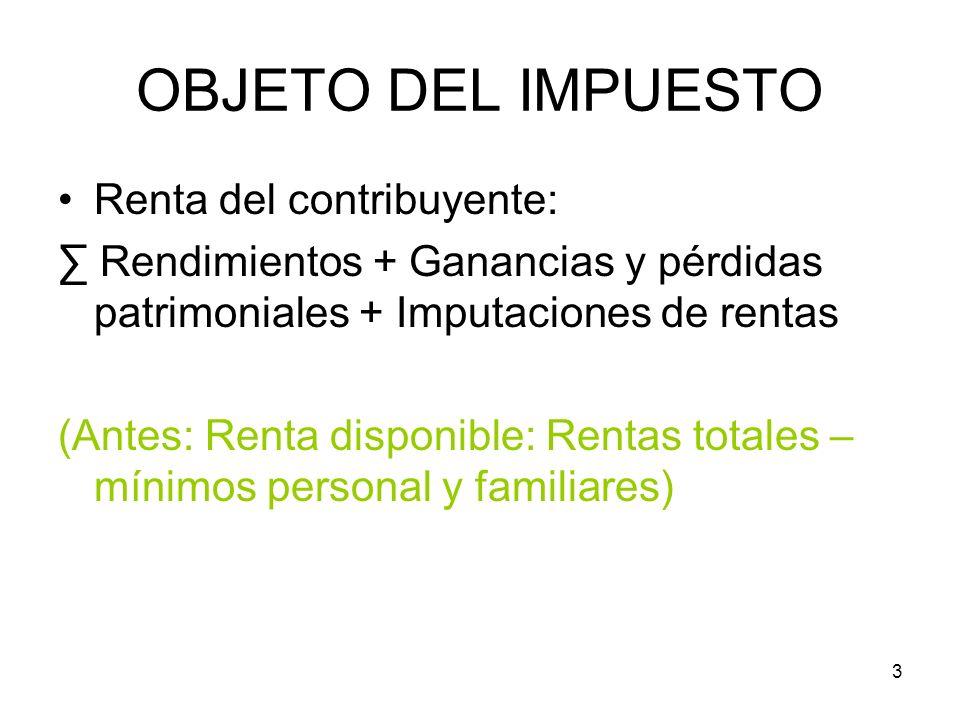 3 OBJETO DEL IMPUESTO Renta del contribuyente: Rendimientos + Ganancias y pérdidas patrimoniales + Imputaciones de rentas (Antes: Renta disponible: Re