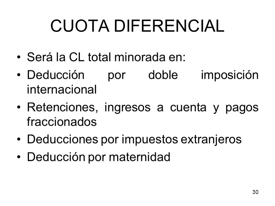 30 CUOTA DIFERENCIAL Será la CL total minorada en: Deducción por doble imposición internacional Retenciones, ingresos a cuenta y pagos fraccionados De