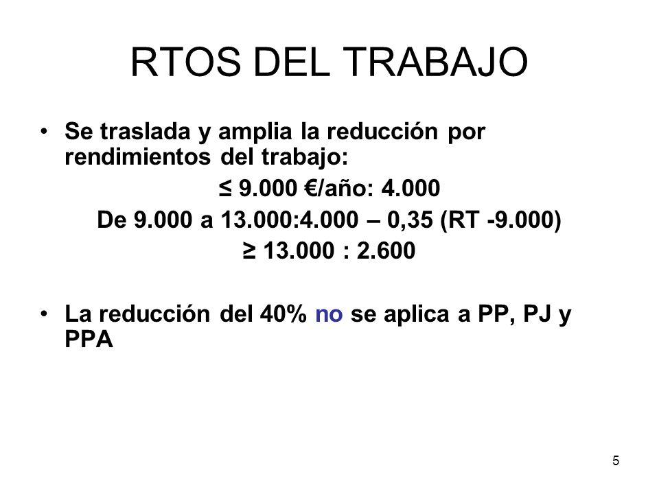 5 RTOS DEL TRABAJO Se traslada y amplia la reducción por rendimientos del trabajo: 9.000 /año: 4.000 De 9.000 a 13.000:4.000 – 0,35 (RT -9.000) 13.000