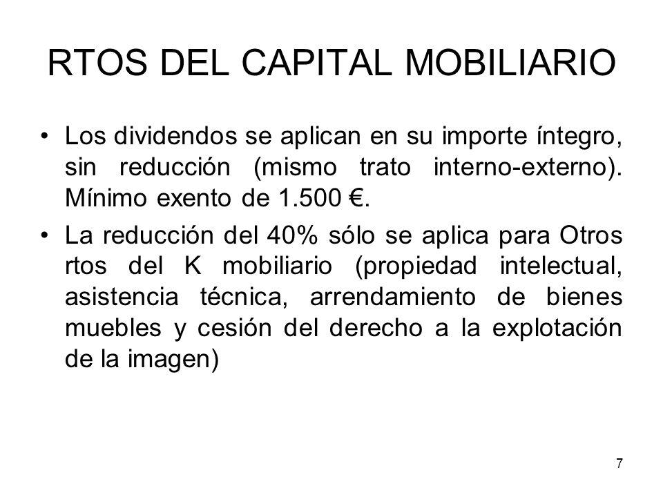 7 RTOS DEL CAPITAL MOBILIARIO Los dividendos se aplican en su importe íntegro, sin reducción (mismo trato interno-externo). Mínimo exento de 1.500. La