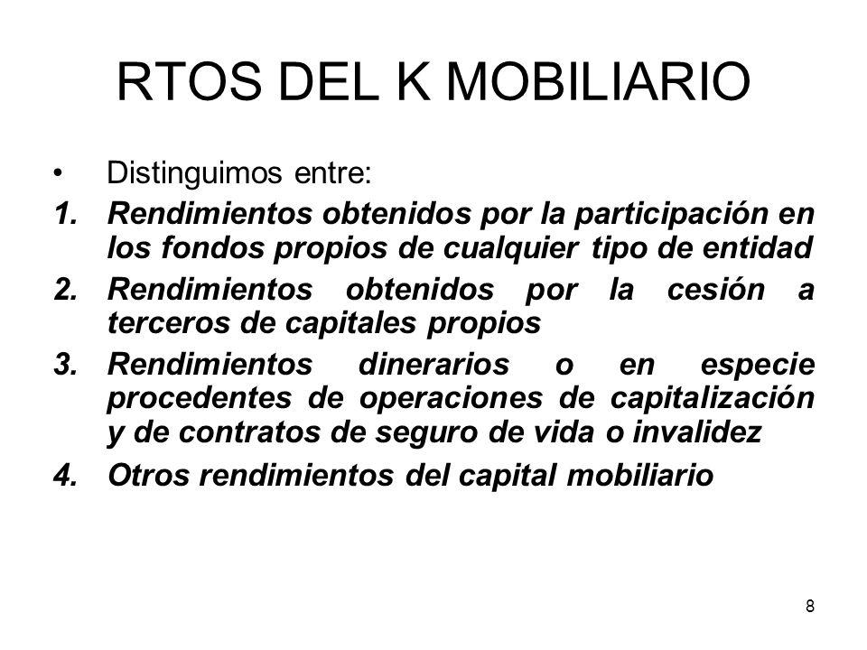 8 RTOS DEL K MOBILIARIO Distinguimos entre: 1.Rendimientos obtenidos por la participación en los fondos propios de cualquier tipo de entidad 2.Rendimi