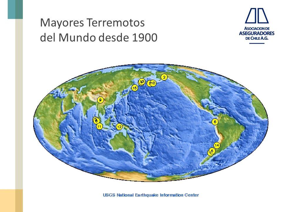 Mayores Terremotos del Mundo desde 1900 LocationDate UTCMagnitude 1.Chile1960 05 229.5 2.Prince William Sound, Alaska1964 03 289.2 3.Off the West Coast of Northern Sumatra2004 12 269.1 4.Kamchatka1952 11 049.0 5.Chile, Offshore Maule2010 02 278.8 6.Off the Coast of Ecuador1906 01 318.8 7.Rat Islands, Alaska1965 02 048.7 8.Northern Sumatra, Indonesia2005 03 288.6 9.Assam - Tibet1950 08 158.6 10.Andrean of Islands, Alaska1957 03 098.6 11.Southern Sumatra, Indonesia2007 09 128.5 12.Banda Sea, Indonesia1938 02 018.5 13.Kamchatka1923 02 038.5 14.Chile-Argentina Border1922 11 118.5 15.Kuril Islands1963 10 138.5 Fuente: USGS National Earthquake Information Center - Updated 2010 March 29 Fuente: http://earthquake.usgs.gov/earthquakes/world/10_largest_world.php