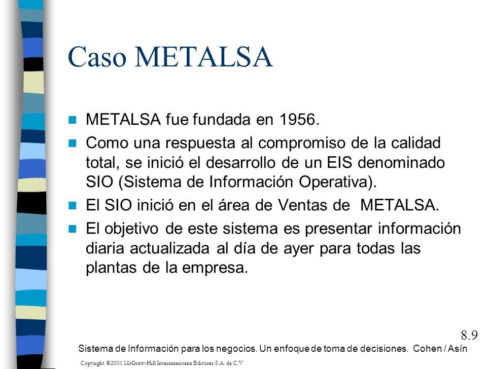 Caso METALSA METALSA fue fundada en 1956. Como una respuesta al compromiso de la calidad total, se inició el desarrollo de un EIS denominado SIO (Sist