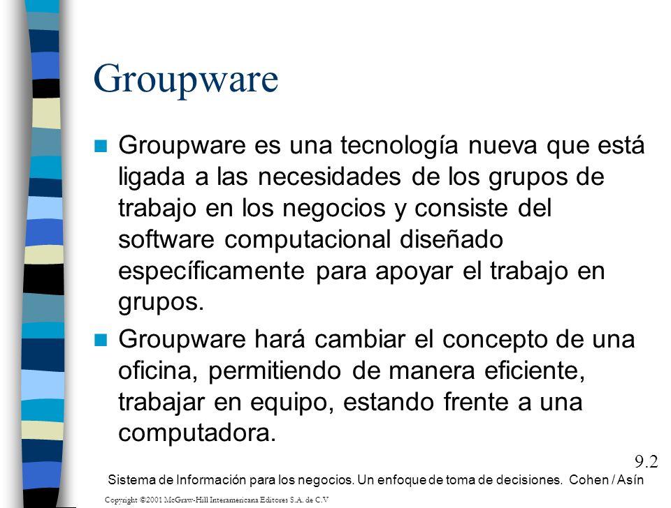 Groupware Groupware es una tecnología nueva que está ligada a las necesidades de los grupos de trabajo en los negocios y consiste del software computa