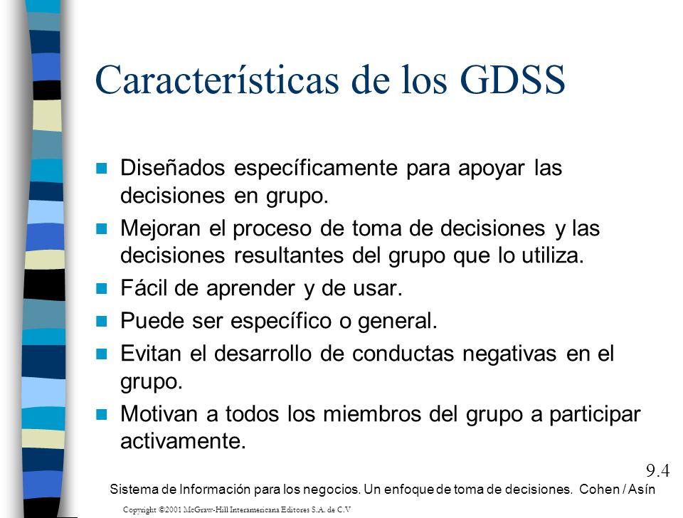 Características de los GDSS Diseñados específicamente para apoyar las decisiones en grupo. Mejoran el proceso de toma de decisiones y las decisiones r