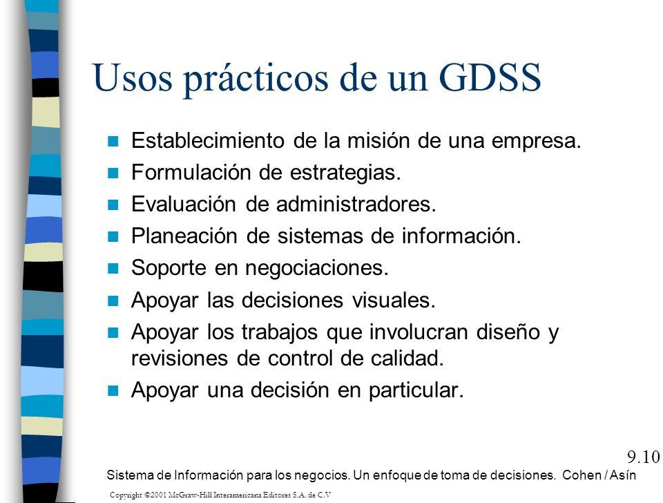 Usos prácticos de un GDSS Establecimiento de la misión de una empresa. Formulación de estrategias. Evaluación de administradores. Planeación de sistem