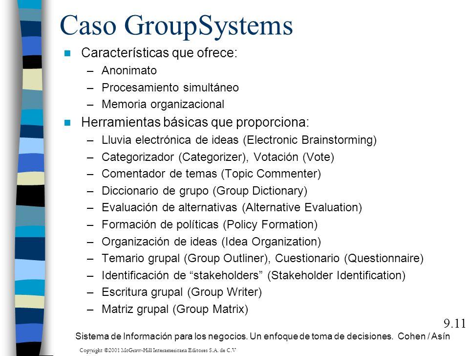 Caso GroupSystems Características que ofrece: –Anonimato –Procesamiento simultáneo –Memoria organizacional Herramientas básicas que proporciona: –Lluv