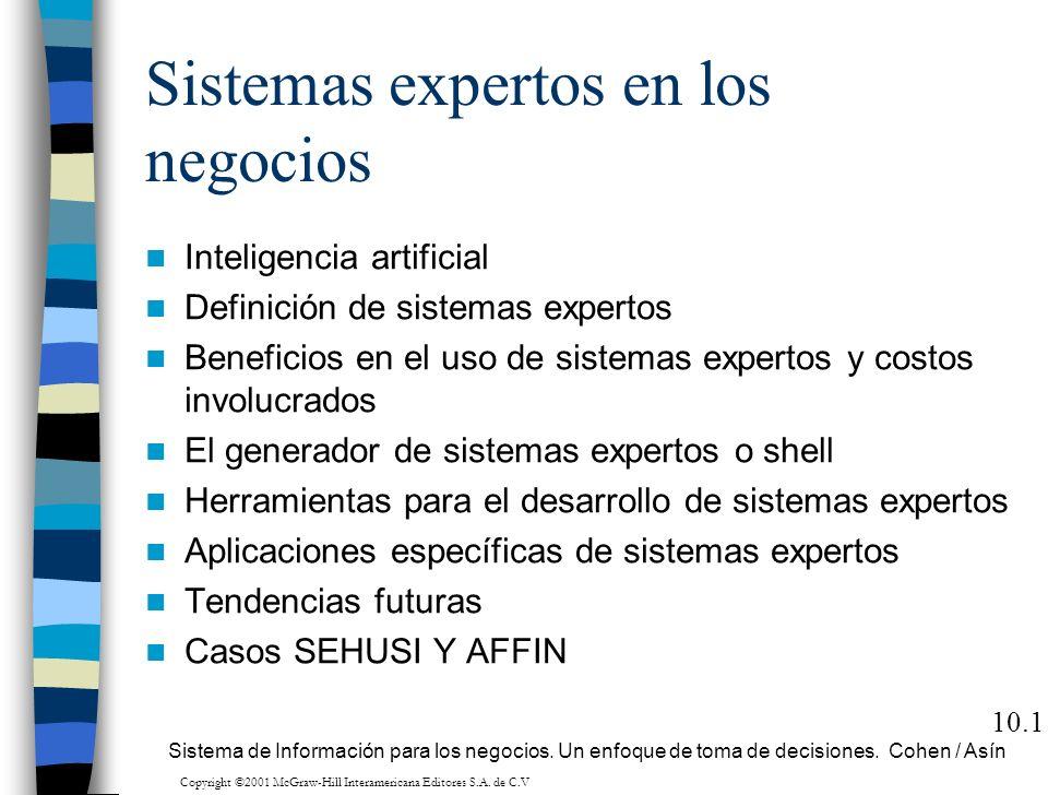 10.1 Sistemas expertos en los negocios Inteligencia artificial Definición de sistemas expertos Beneficios en el uso de sistemas expertos y costos invo
