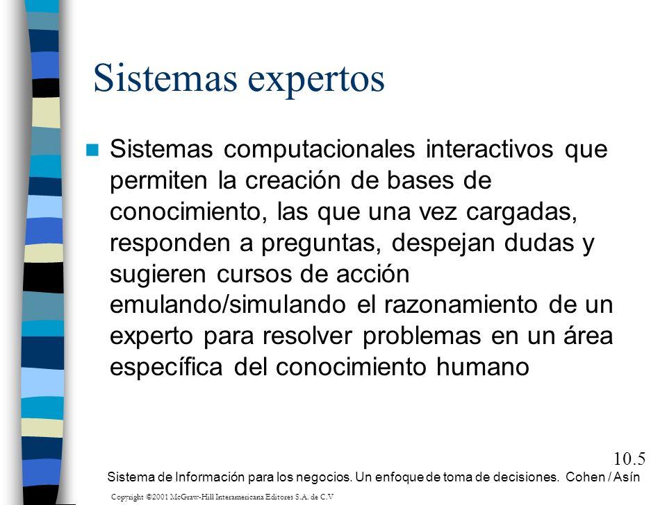 10.5 Sistemas expertos Sistemas computacionales interactivos que permiten la creación de bases de conocimiento, las que una vez cargadas, responden a