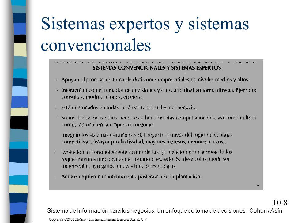 Sistemas expertos y sistemas convencionales 10.8 Sistema de Información para los negocios. Un enfoque de toma de decisiones. Cohen / Asín Copyright ©2