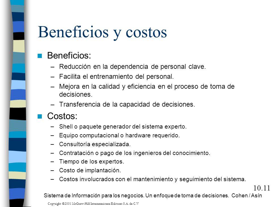 Beneficios y costos Beneficios: –Reducción en la dependencia de personal clave. –Facilita el entrenamiento del personal. –Mejora en la calidad y efici