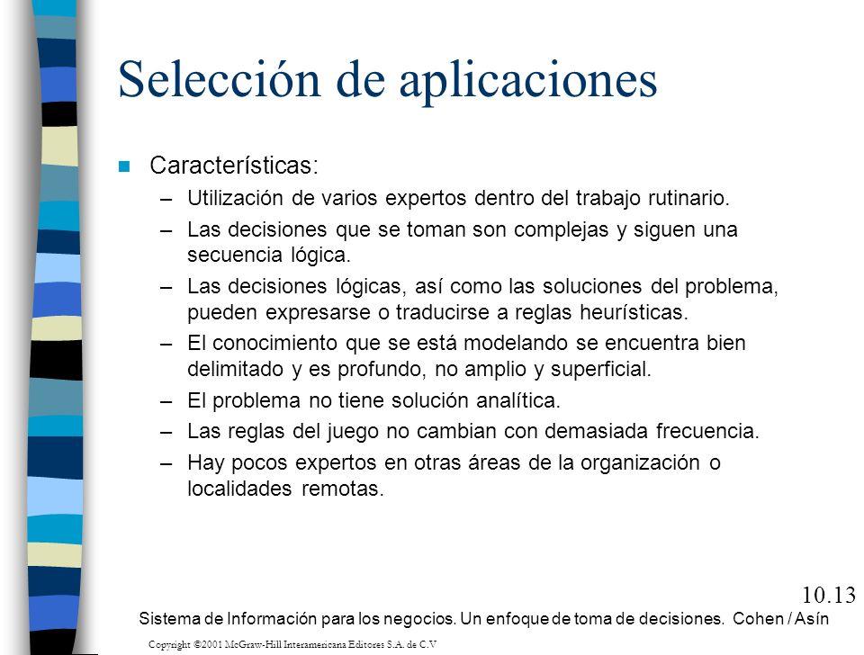 Selección de aplicaciones Características: –Utilización de varios expertos dentro del trabajo rutinario. –Las decisiones que se toman son complejas y
