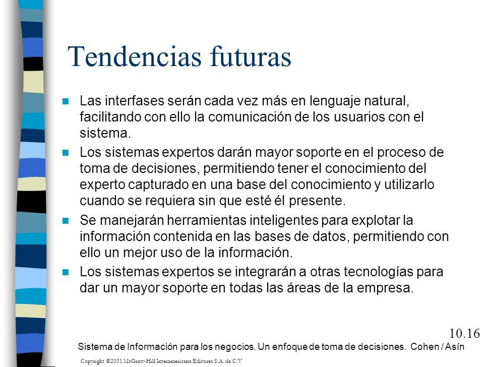 Tendencias futuras Las interfases serán cada vez más en lenguaje natural, facilitando con ello la comunicación de los usuarios con el sistema. Los sis