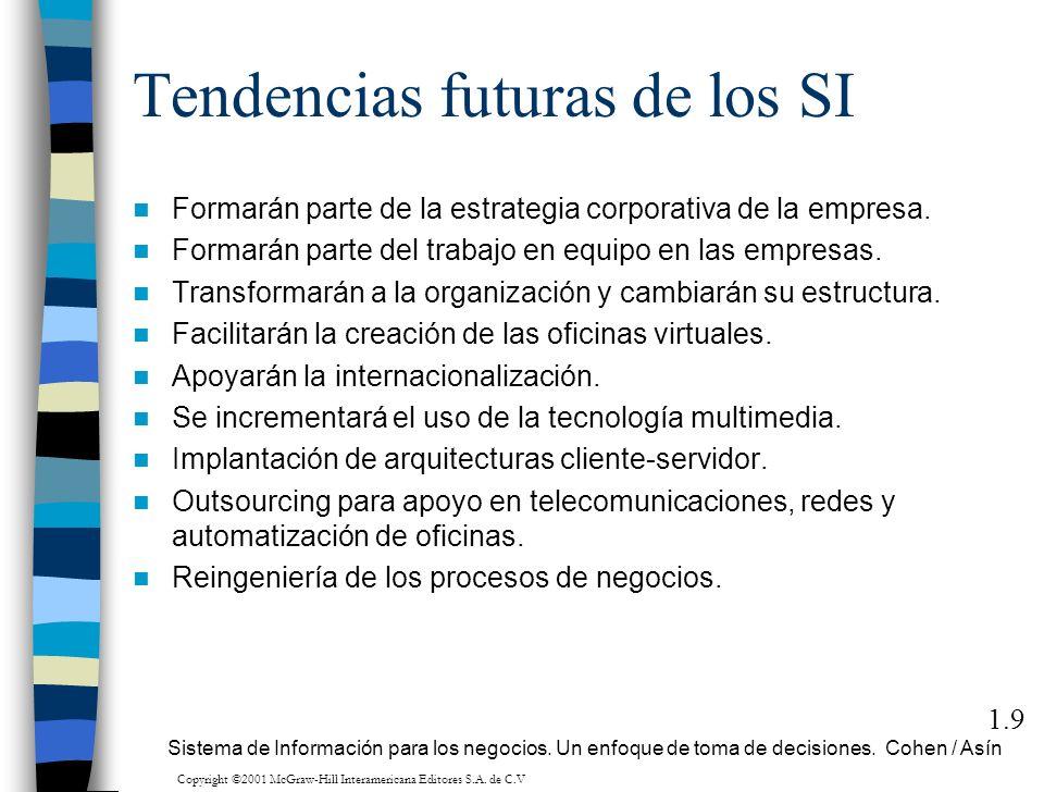 Tendencias futuras de los SI Formarán parte de la estrategia corporativa de la empresa. Formarán parte del trabajo en equipo en las empresas. Transfor