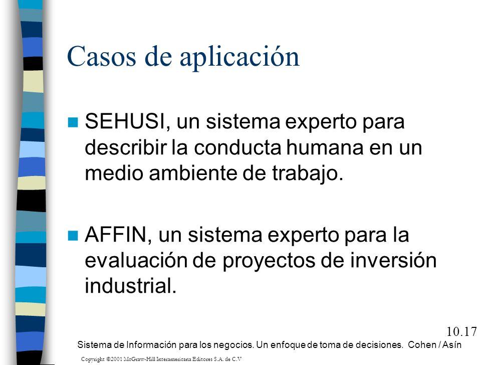 Casos de aplicación SEHUSI, un sistema experto para describir la conducta humana en un medio ambiente de trabajo. AFFIN, un sistema experto para la ev