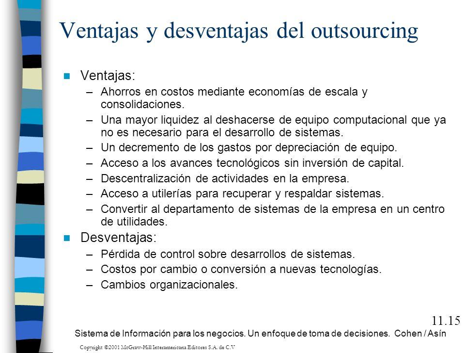 Ventajas y desventajas del outsourcing Ventajas: –Ahorros en costos mediante economías de escala y consolidaciones. –Una mayor liquidez al deshacerse