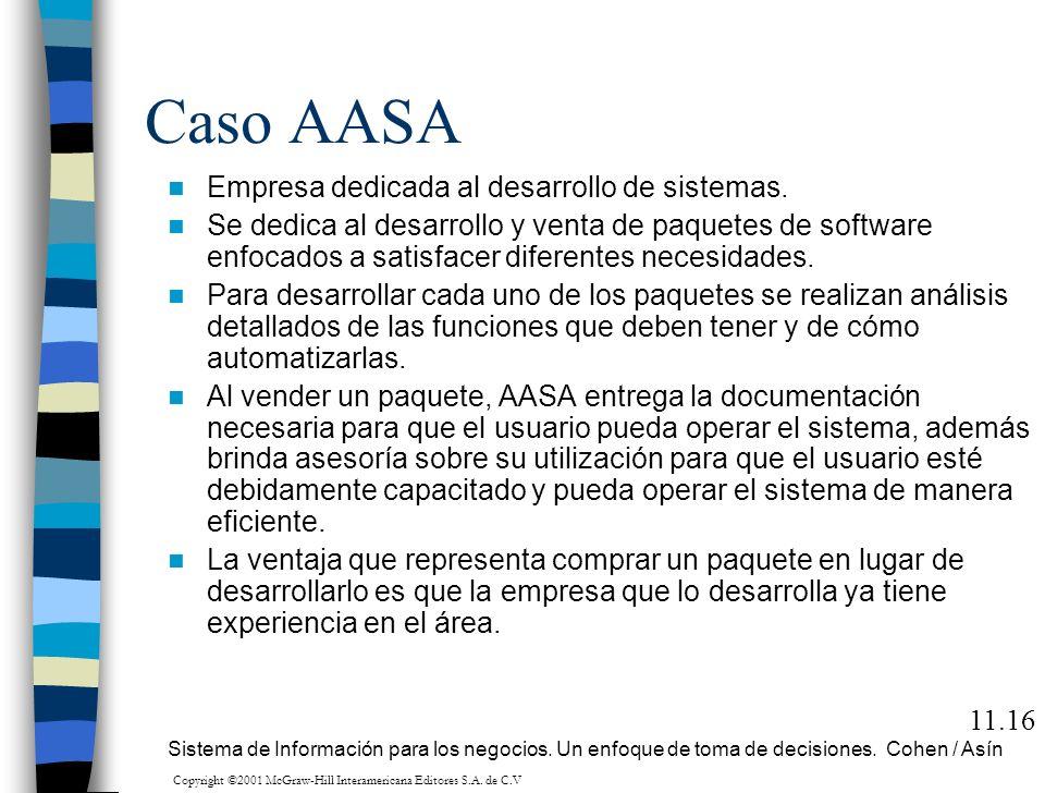 Caso AASA Empresa dedicada al desarrollo de sistemas. Se dedica al desarrollo y venta de paquetes de software enfocados a satisfacer diferentes necesi