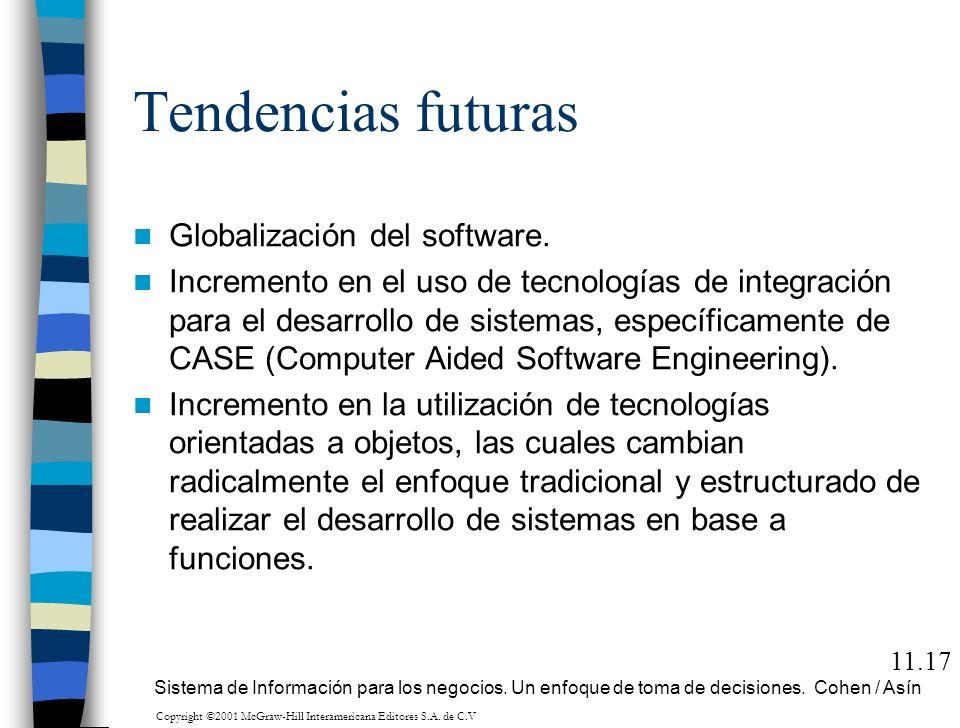 Tendencias futuras Globalización del software. Incremento en el uso de tecnologías de integración para el desarrollo de sistemas, específicamente de C