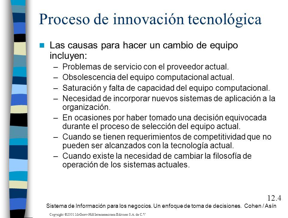 Proceso de innovación tecnológica Las causas para hacer un cambio de equipo incluyen: –Problemas de servicio con el proveedor actual. –Obsolescencia d