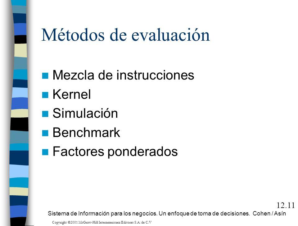 Métodos de evaluación Mezcla de instrucciones Kernel Simulación Benchmark Factores ponderados 12.11 Sistema de Información para los negocios. Un enfoq