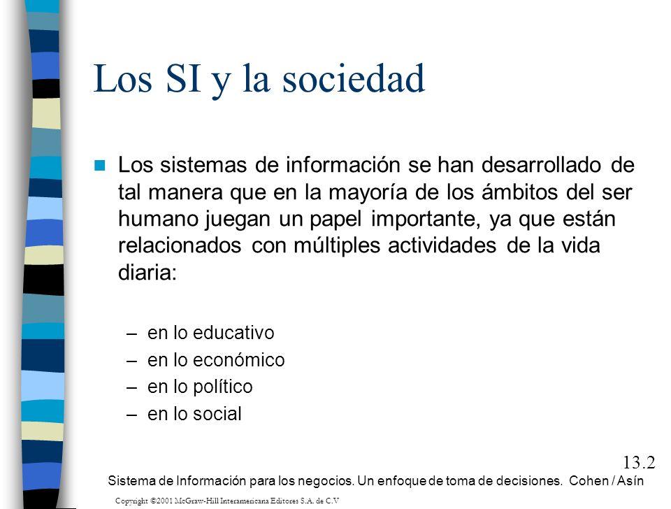 Los SI y la sociedad Los sistemas de información se han desarrollado de tal manera que en la mayoría de los ámbitos del ser humano juegan un papel imp