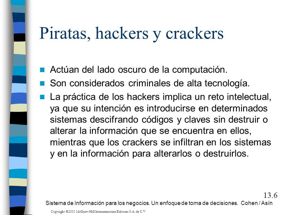Piratas, hackers y crackers Actúan del lado oscuro de la computación. Son considerados criminales de alta tecnología. La práctica de los hackers impli