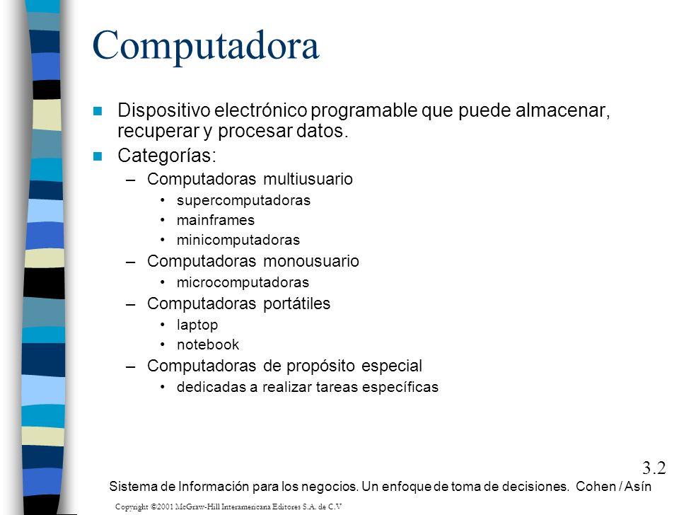 Computadora Dispositivo electrónico programable que puede almacenar, recuperar y procesar datos. Categorías: –Computadoras multiusuario supercomputado