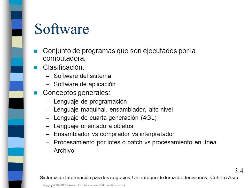 Software Conjunto de programas que son ejecutados por la computadora. Clasificación: –Software del sistema –Software de aplicación Conceptos generales