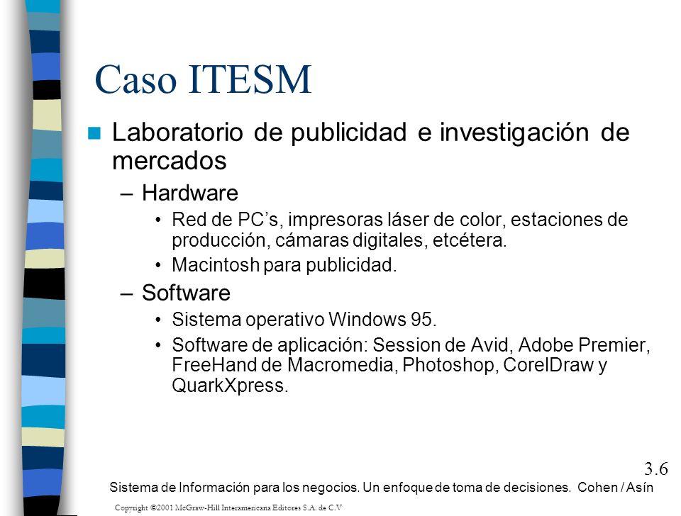 Caso ITESM Laboratorio de publicidad e investigación de mercados –Hardware Red de PCs, impresoras láser de color, estaciones de producción, cámaras di