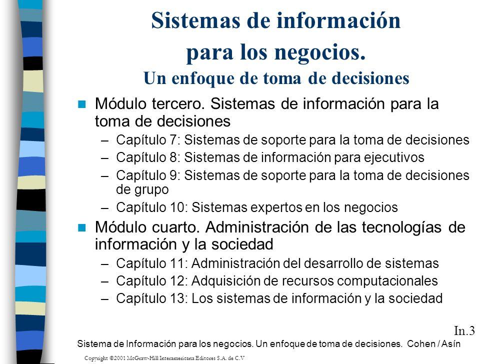 Sistemas de información para los negocios. Un enfoque de toma de decisiones Módulo tercero. Sistemas de información para la toma de decisiones –Capítu