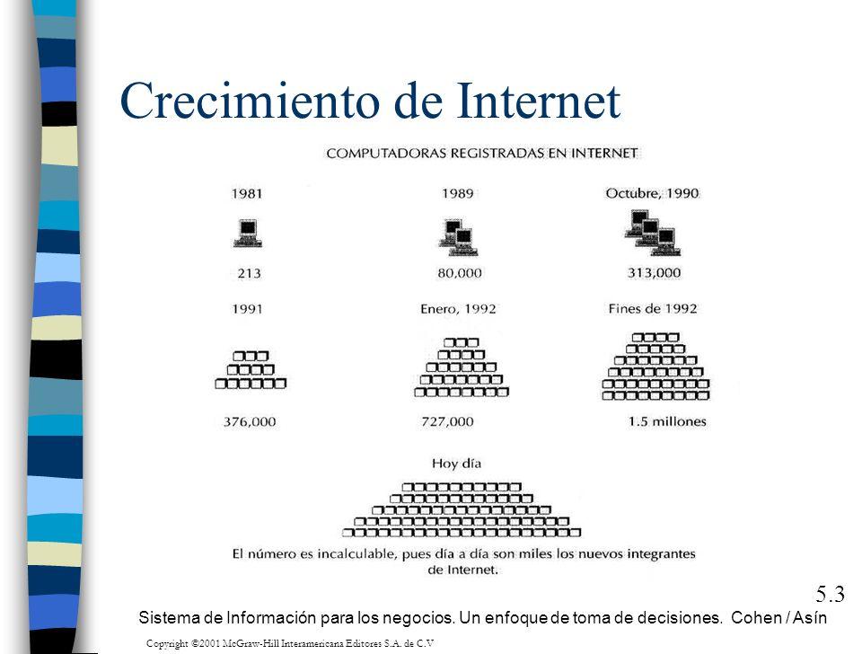 Crecimiento de Internet 5.3 Sistema de Información para los negocios. Un enfoque de toma de decisiones. Cohen / Asín Copyright ©2001 McGraw-Hill Inter