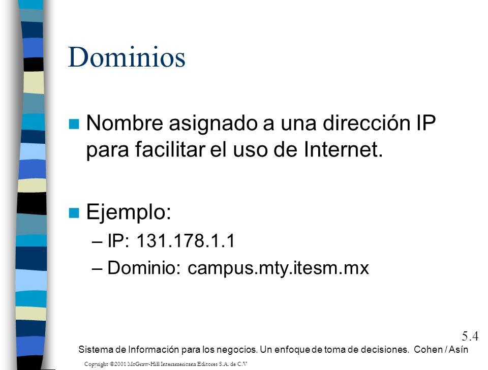 Dominios Nombre asignado a una dirección IP para facilitar el uso de Internet. Ejemplo: –IP: 131.178.1.1 –Dominio: campus.mty.itesm.mx 5.4 Sistema de