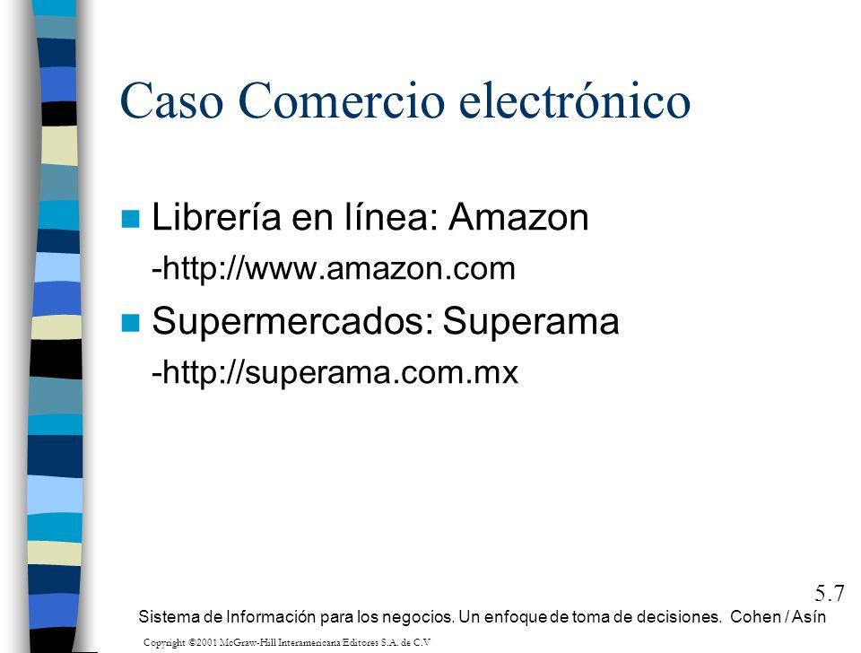 Caso Comercio electrónico 5.7 Sistema de Información para los negocios. Un enfoque de toma de decisiones. Cohen / Asín Librería en línea: Amazon -http