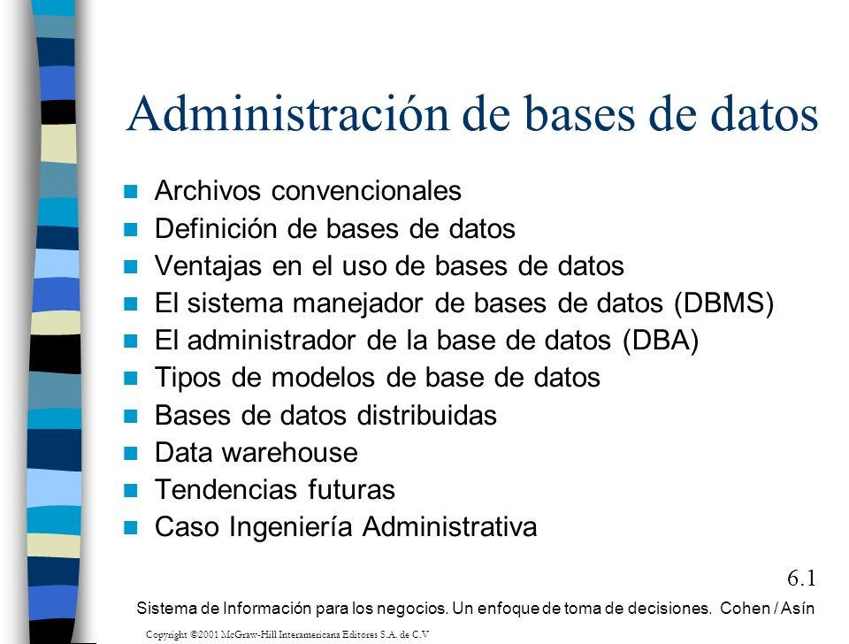 Administración de bases de datos Archivos convencionales Definición de bases de datos Ventajas en el uso de bases de datos El sistema manejador de bas