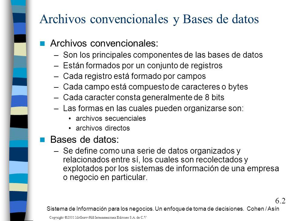 Archivos convencionales: –Son los principales componentes de las bases de datos –Están formados por un conjunto de registros –Cada registro está forma