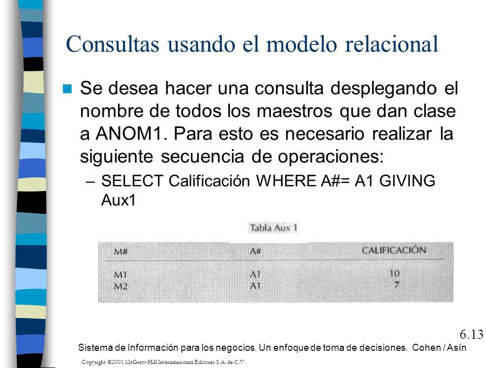 Consultas usando el modelo relacional Se desea hacer una consulta desplegando el nombre de todos los maestros que dan clase a ANOM1. Para esto es nece