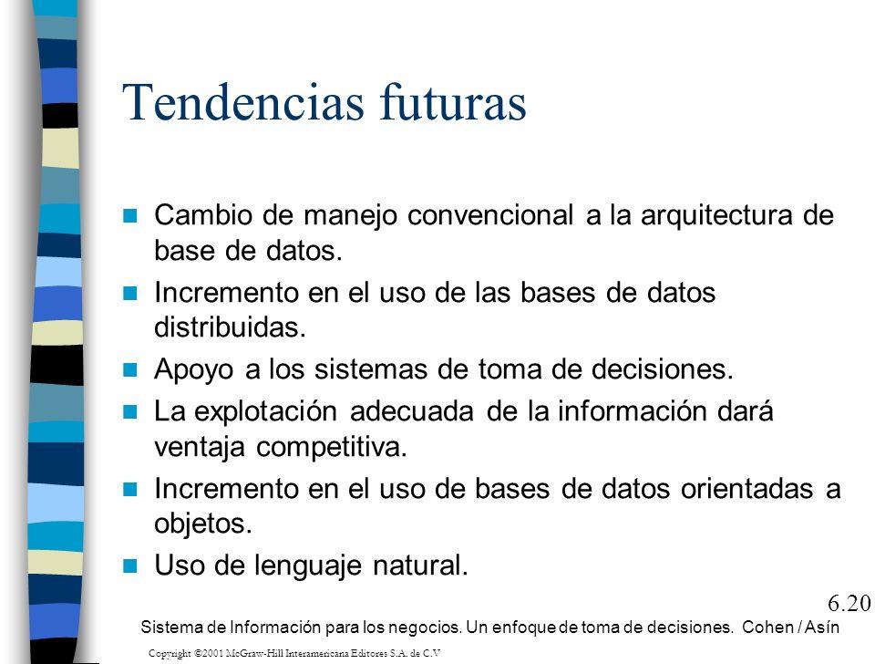 Tendencias futuras Cambio de manejo convencional a la arquitectura de base de datos. Incremento en el uso de las bases de datos distribuidas. Apoyo a
