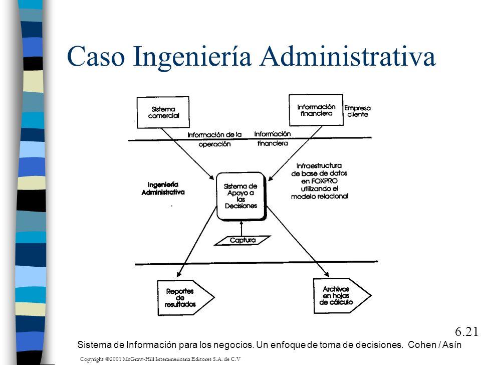 Caso Ingeniería Administrativa 6.21 Sistema de Información para los negocios. Un enfoque de toma de decisiones. Cohen / Asín Copyright ©2001 McGraw-Hi