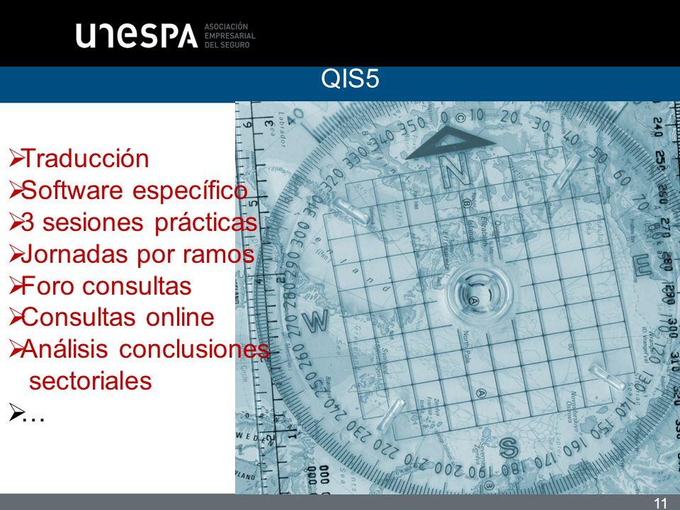11 QIS5 Traducción Software específico 3 sesiones prácticas Jornadas por ramos Foro consultas Consultas online Análisis conclusiones sectoriales …