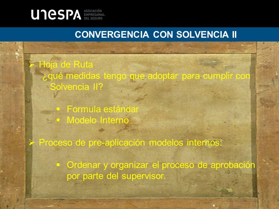 13 CONVERGENCIA CON SOLVENCIA II Hoja de Ruta ¿qué medidas tengo que adoptar para cumplir con Solvencia II.