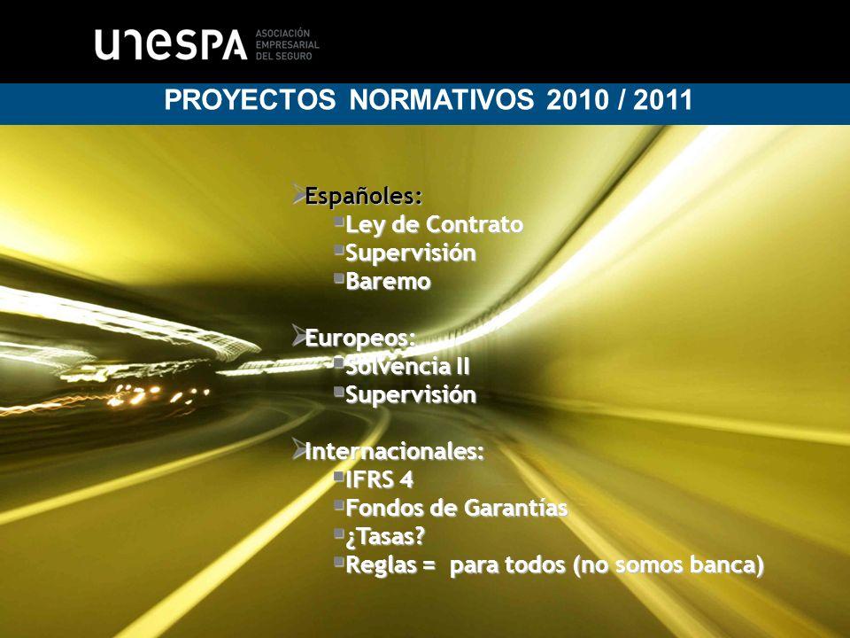 3 PROYECTOS NORMATIVOS 2010 / 2011 Españoles: Ley de Contrato Supervisión Baremo Europeos: Solvencia II Supervisión Internacionales: IFRS 4 Fondos de Garantías ¿Tasas.