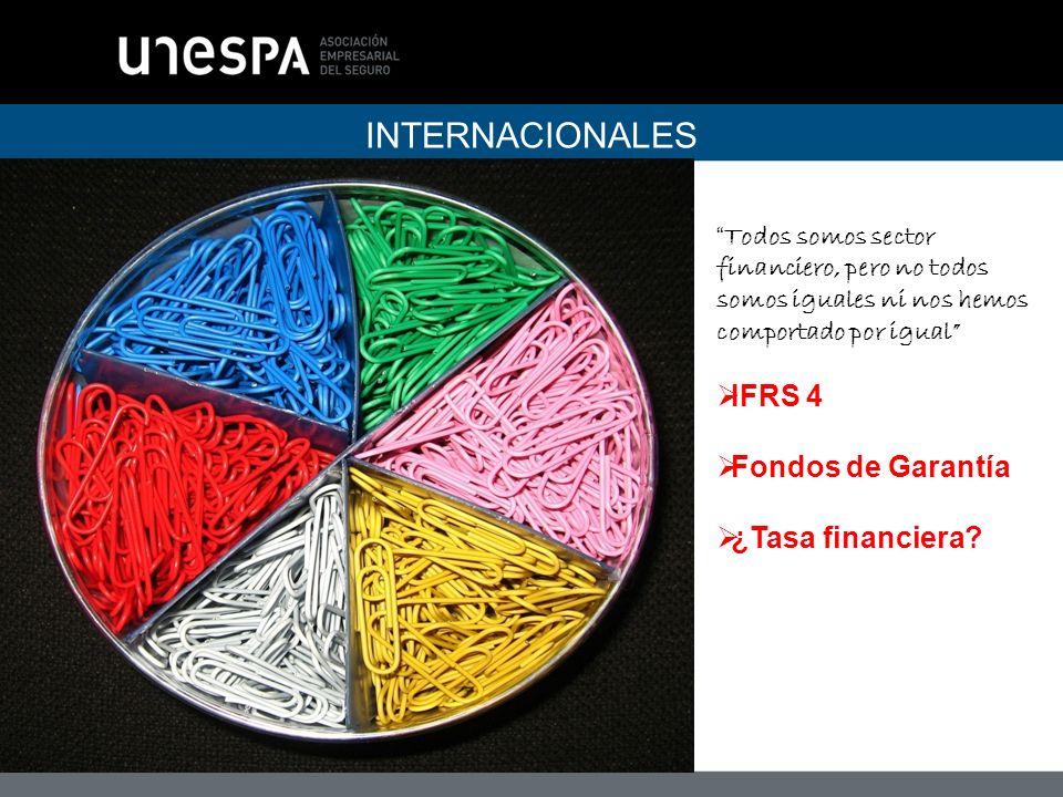 INTERNACIONALES Todos somos sector financiero, pero no todos somos iguales ni nos hemos comportado por igual IFRS 4 Fondos de Garantía ¿Tasa financiera
